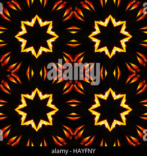 Abstract seamless pattern, fiery stars - Stock Photo