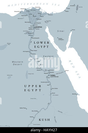 Ancient Egypt map with important sights, Sinai peninsula, Nile river and delta. Northeastern Africa. Kush, Upper - Stock Photo