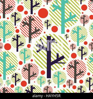 Seamless handwork pattern with colorful trees and circles - Stock Photo