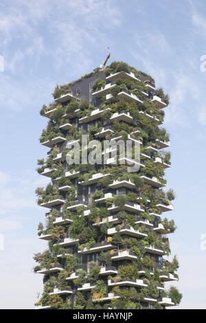 Vertical forest building called Bosco verticale in Italian, Milan, Italy - Stock Photo