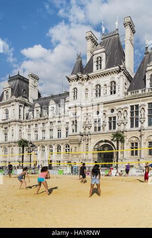 volleyball, city hall, paris - Stock Photo