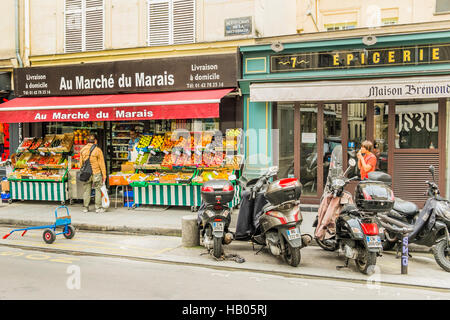 street scene in front of  au marché du marais , grocery store - Stock Photo