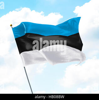 Flag of Estonia Raised Up in The Sky - Stock Photo