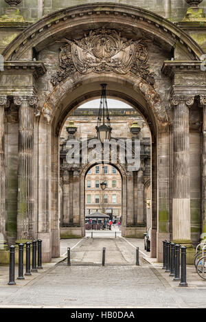 The vehicle side entrances to the City Chambers in George Square, Glasgow, Scotland - Stock Photo
