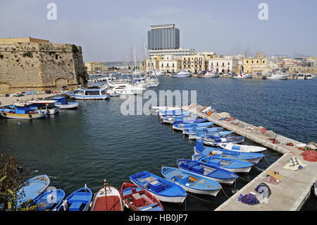 fishing boats, harbour, Gallipoli, Italy - Stock Photo