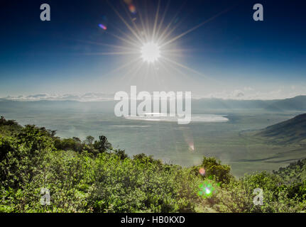 View of Ngorongoro Crater from the Rim - Stock Photo