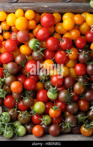 Ripe Cherry tomatoes, food top view - Stock Photo