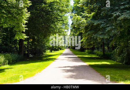 View of a way in Tiergarten. Berlin's largest & oldest park, including family amenities, walking paths & a victory - Stock Photo