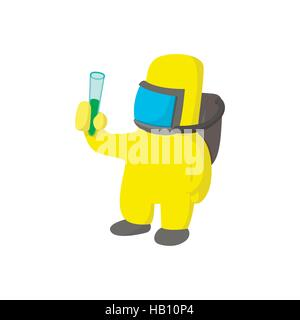 Scientist in protective suit cartoon icon - Stock Photo