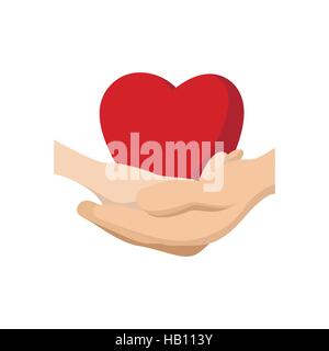 Heart in hands cartoon icon - Stock Photo