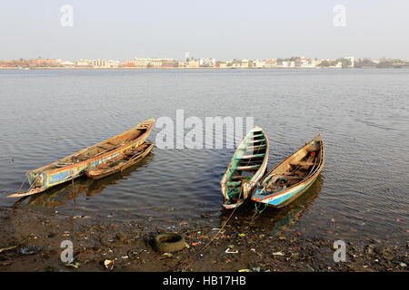 View of South or Sindone district of the city-island from the mainland district of Sor across the river.s Grand - Stock Photo