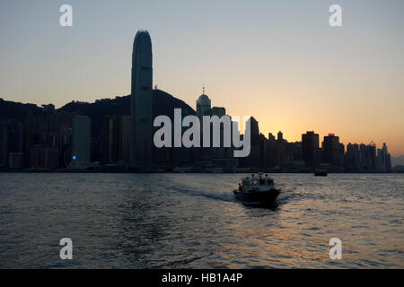 Hong Kong Skyline from Victoria Harbour. - Stock Photo