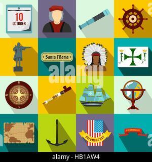 Happy Columbus Day icons - Stock Photo