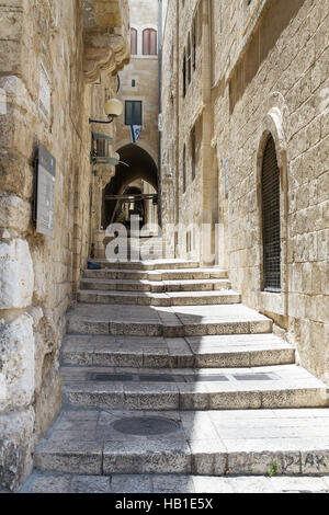 Sreet of Jerusalem Old City Alley . Israel - Stock Photo