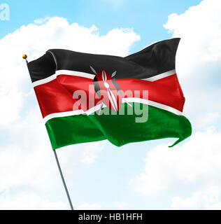 Flag of Kenya Raised Up in The Sky - Stock Photo
