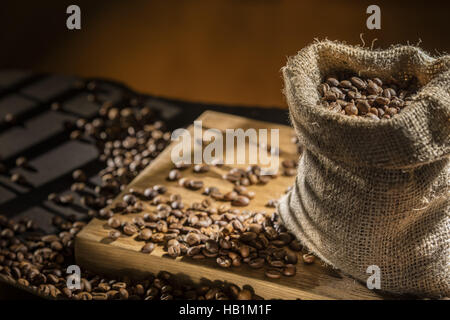 coffee beans in bag - Stock Photo