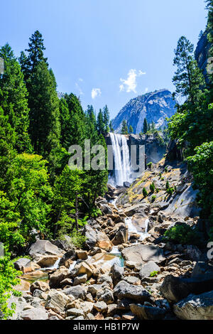 Vernal Fall is a 317 feet waterfall on the Merced River just downstream of Nevada Fall in Yosemite National Park, - Stock Photo