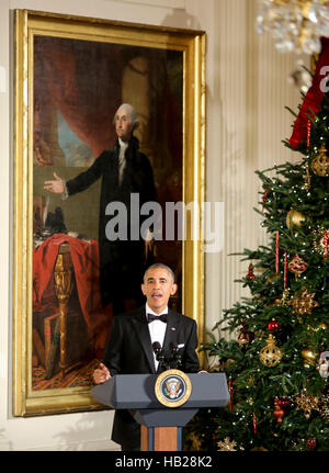 Washington DC, USA. 4th Dec, 2016. United States President Barack Obama delivers remarks at the Kennedy Center Honors - Stock Photo