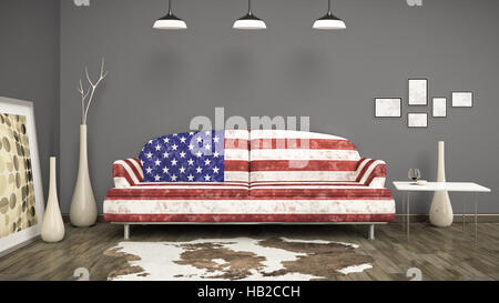 usa flag sofa - Stock Photo