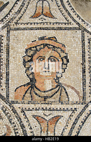 Detail from the Labours of Hercules floor mosaic in the ruined Roman city of Volubilis, Morocco, Africa - Stock Photo