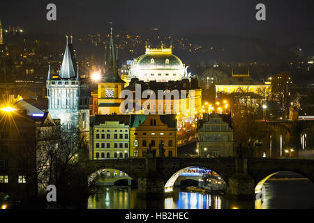 Overview of Prague in night - Stock Photo