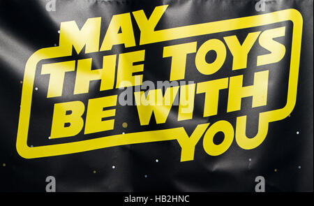 'May the toys me with you'  Star wars pun on Toy shop, Southport, Merseyside, UK - Stock Photo