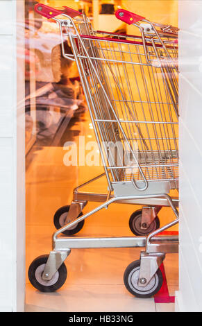 Shopping carts on a parking. - Stock Photo
