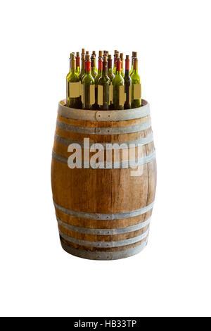 wine bottles stacked on wooden racks shot. - Stock Photo