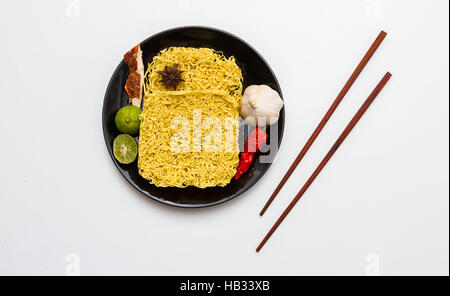 Instant noodles for cooking in the dish. - Stock Photo