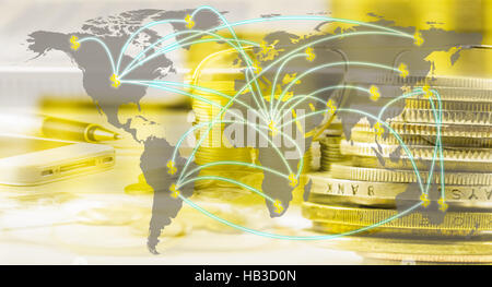Business accessory. Laptop and smart phone for working business project on wooden table. You can apply for background,backdrop,wallpaper - Stock Photo