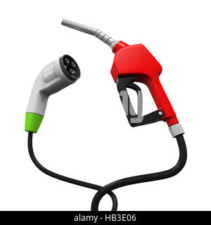 Electric Vehicle Charging Plug and Gas Nozzle - Stock Photo