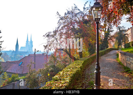Zagreb upper town walkway and skyline view - Stock Photo