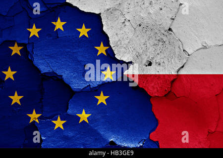 flags of EU and Poland painted on cracked wall - Stock Photo