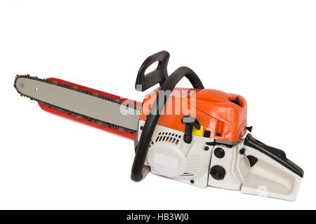Chainsaw on a white background. - Stock Photo