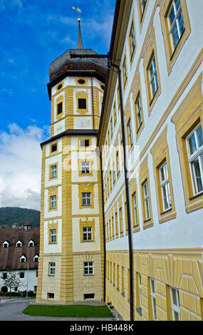 Onion tower of the Princes' Wing, Stams Abbey, Stift Stams, Tyrol, Austria - Stock Photo