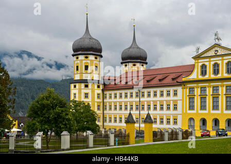 Stams Abbey, Princes' Wing with onion towers, Stift Stams, Tyrol, Austria - Stock Photo
