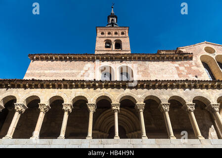 The romanesque Church of San Martin with its mudejar bellfry, in the Plaza Medina del Campo, Segovia, Spain - Stock Photo