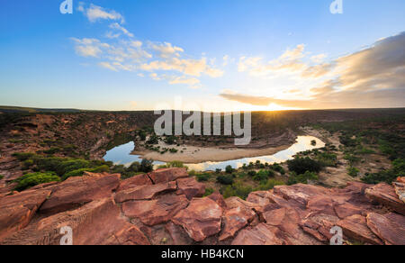 The Murchison River meandering through The Loop gorge at sunrise in Kalbarri National Park. Kalbarri, Western Australia - Stock Photo