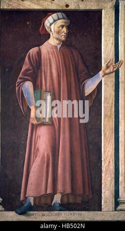 Dante Alighieri seen here in a Mural of Dante in the Uffizi Gallery, by Andrea del Castagno, c. 1450 - Italy.  Durante - Stock Photo