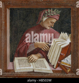 Dante Alighieri seen here in detail from Luca Signorelli's fresco, Chapel of San Brizio, Orvieto Cathedral, Italy. - Stock Photo