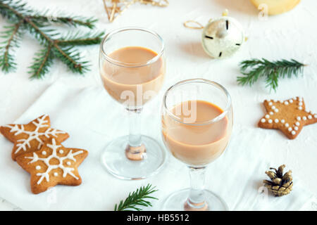Chirstmas Irish cream coffee liqueur  - homemade traditional festive drink for Christmas time with gingerbread cookies - Stock Photo