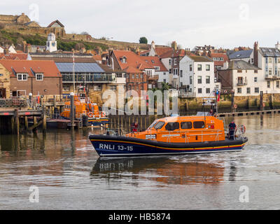 Scarborough's Shannon-class 13-15 RNLB 'Frederic William Plaxton' at the Whitby Lifeboat station - Stock Photo