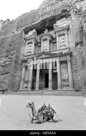 Al Khazneh or The Treasury at Petra, Jordan. The Rose City is carved out of solid rock and in some places upon the - Stock Photo