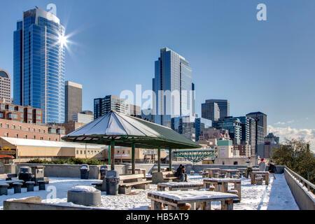 Public Market, Seattle in Winter  Pike Place Market - Stock Photo
