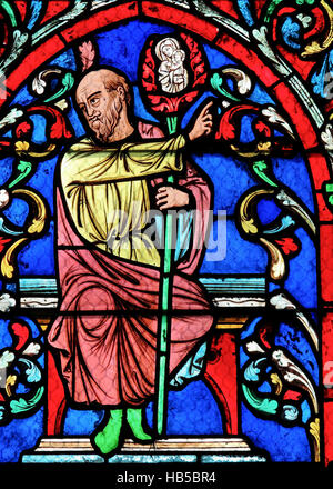 Detail of Tree of Jesse on 19th Century Stained Glass window in Notre Dame Cathedral of Paris, France.