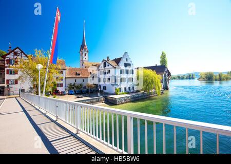 Old city center of Stein am Rhein village with colorful old houses, canton of Schaffhausen, Switzerland. - Stock Photo