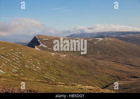 Cribyn in the Brecon Beacons viewed from Corn Ddu. - Stock Photo