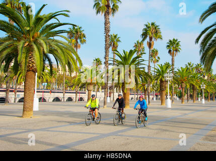 Bicyclist on embankment of Port Vell in Barcelona. Port Vell is the oldest and largest port in the city. - Stock Photo