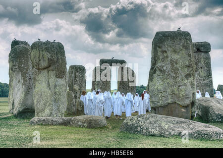 Winter Solstice at Stonehenge. Druids. Pagan celebration. Pagan ritual. - Stock Photo