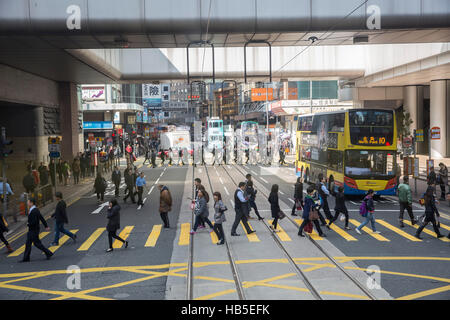 Hongkong Asia street traffic passer-by China - Stock Photo